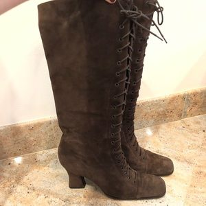 Prada Lace-Up Knee Boots Brown Suede Size 41